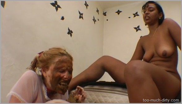 White_Lesbian_Slave_Forced_to_Eat_a_Shit_of_Her_Ebony_Cruel_Mistress